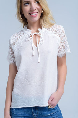 Q2 Cream blouse with lace insert