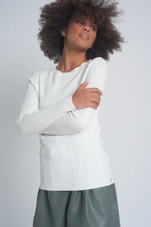 Crew Neck Ribbed Sweater in Cream - Himelhoch's