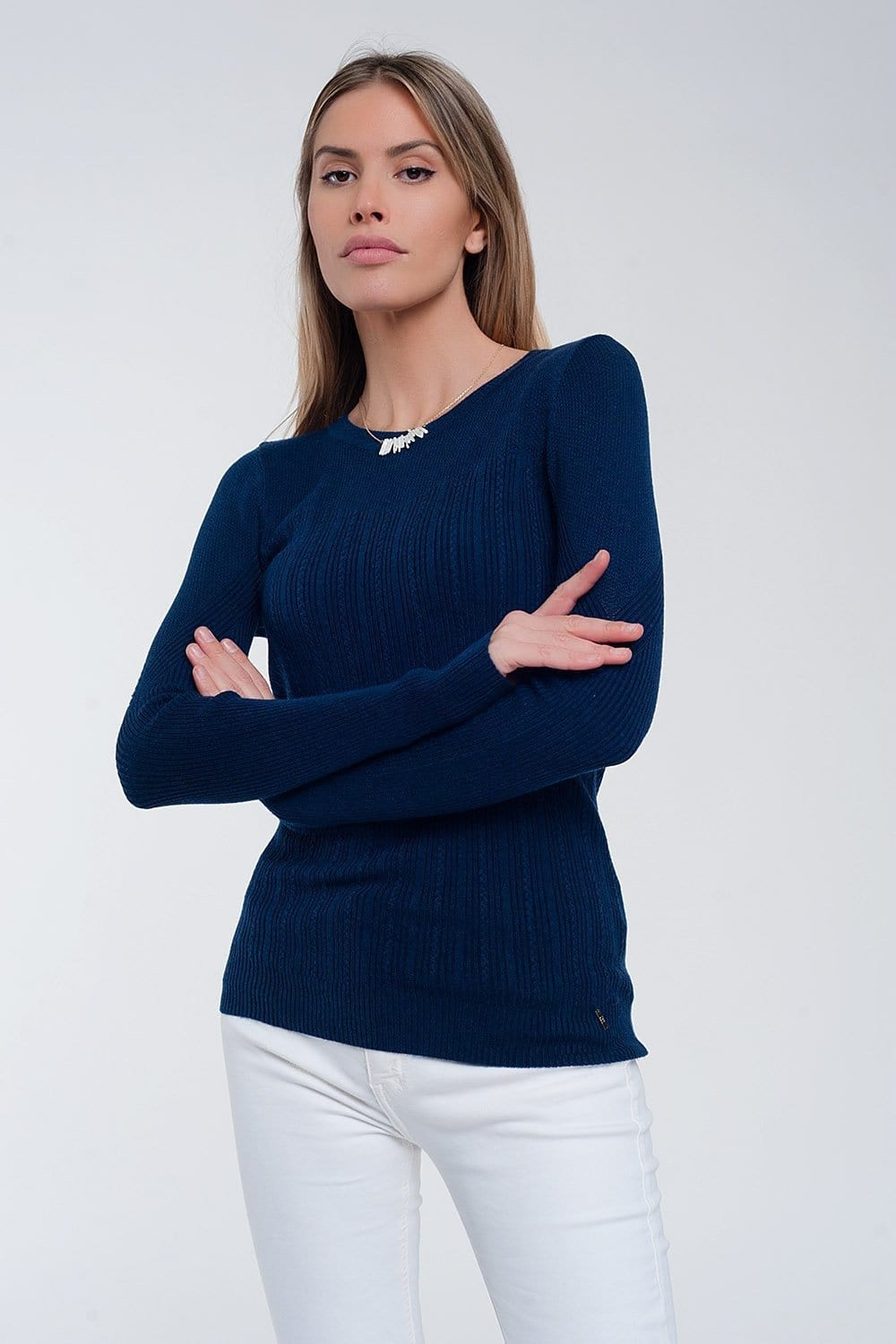 Crew Neck Ribbed Sweater in Navy - Himelhoch's