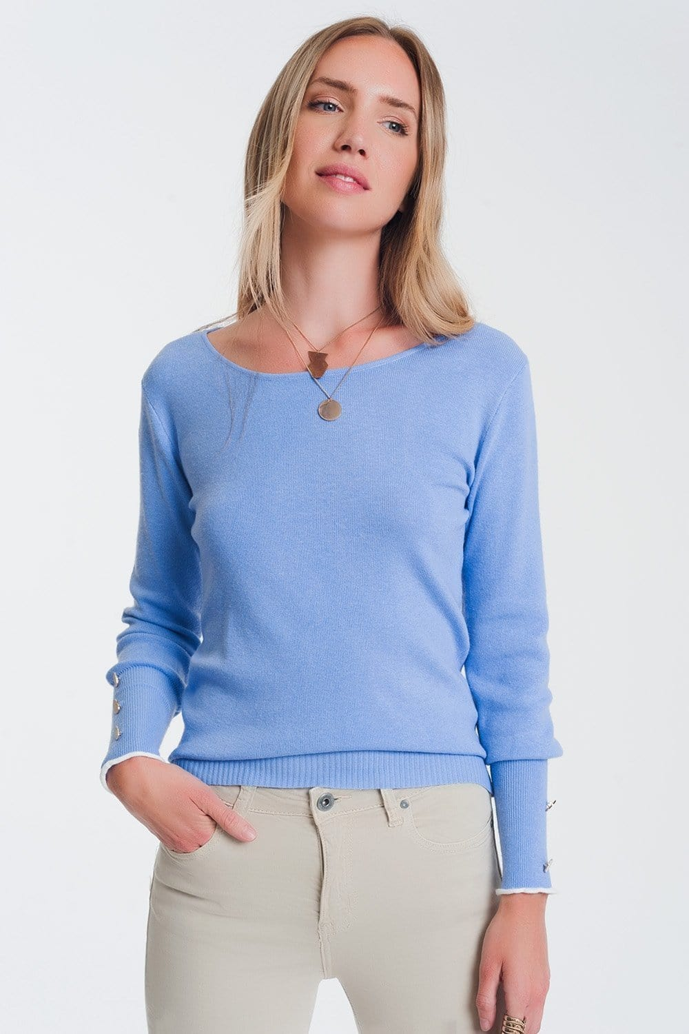 Q2 crew neck sweater with button detail in blue