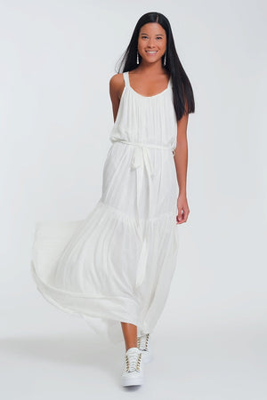 Q2 cross back maxi dress in cream