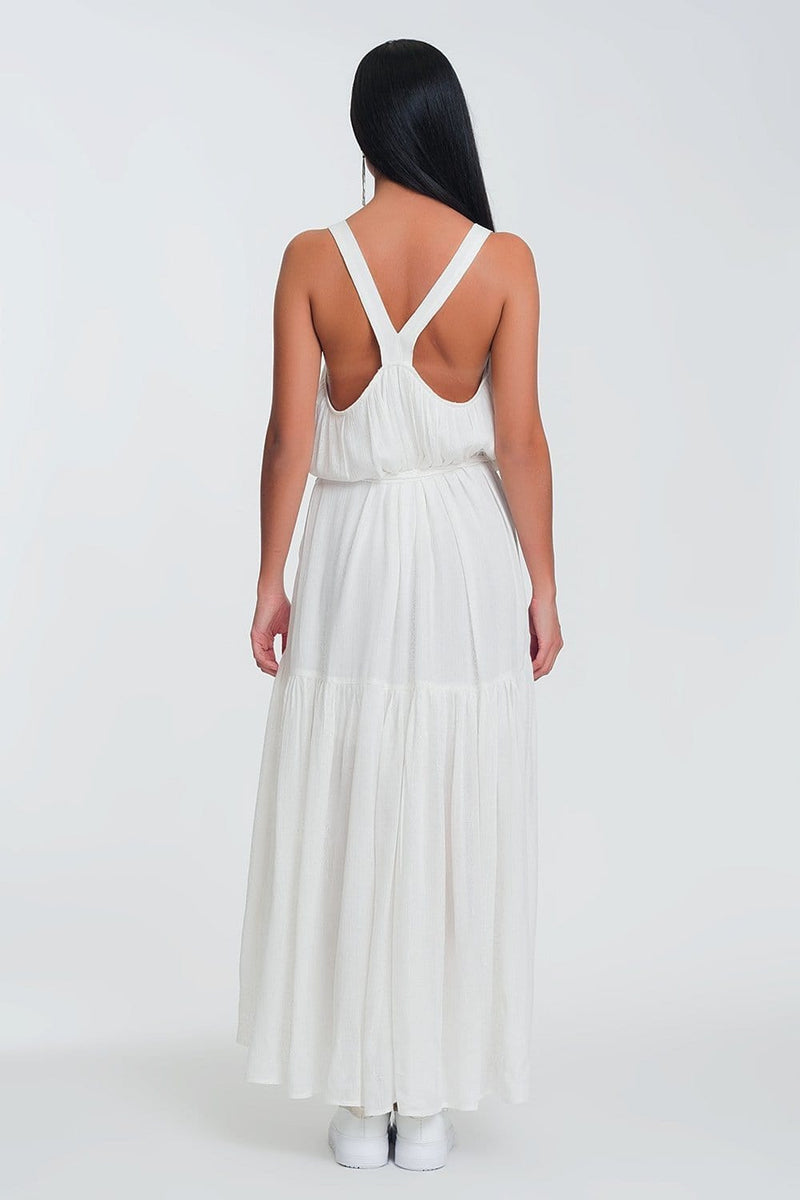 Cross Back Maxi Dress in Cream