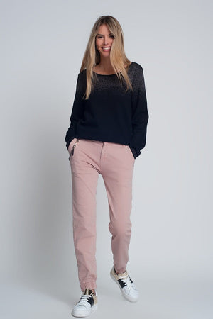 Cuffed Utility Pants with Chain in Pink - Himelhoch's