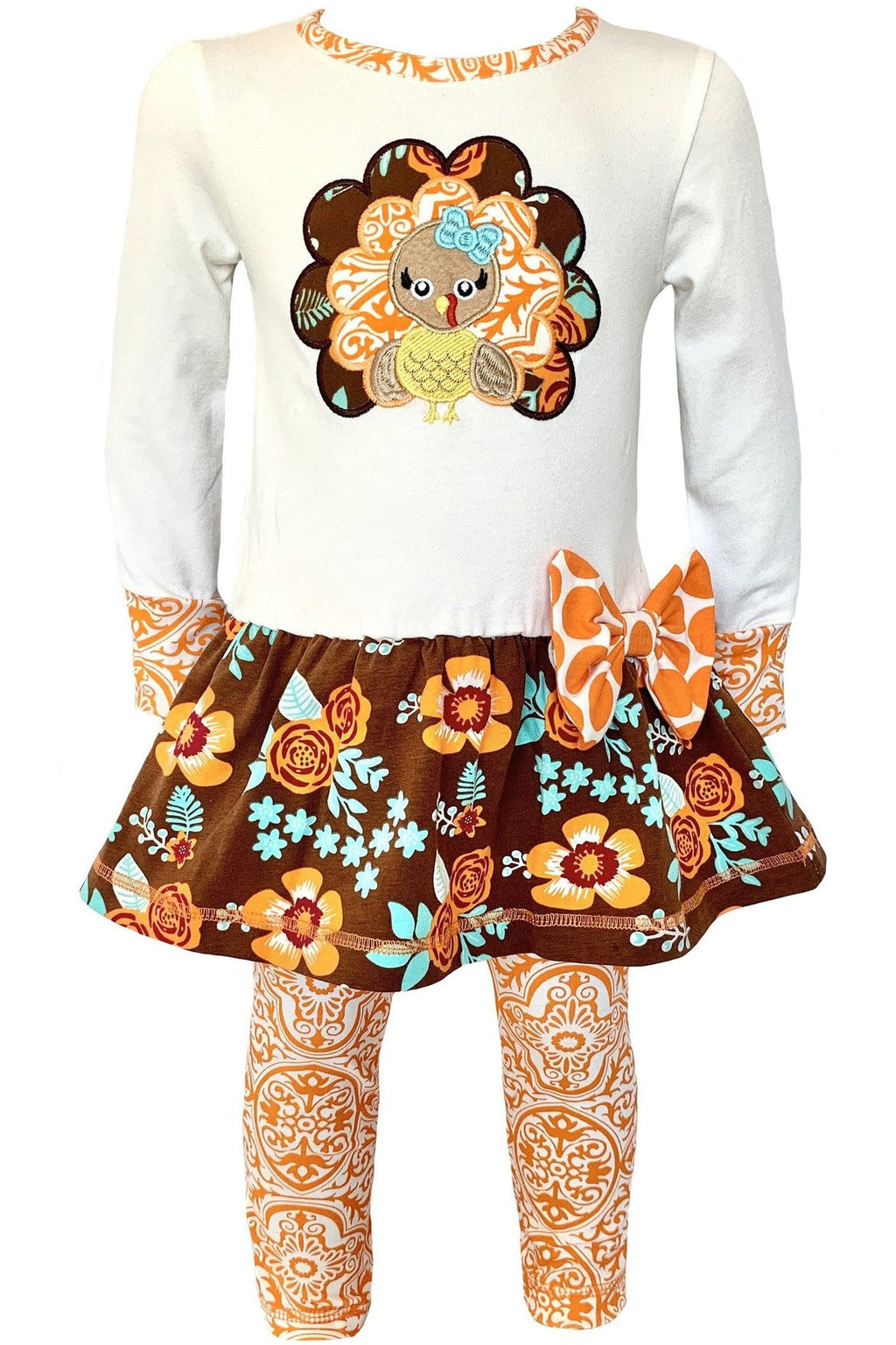 AnnLoren Big Little Girls Boutique Clothing Fall Outfit Floral Turkey Tunic & Leggings sz 2/3T-9/10 - Himelhoch's