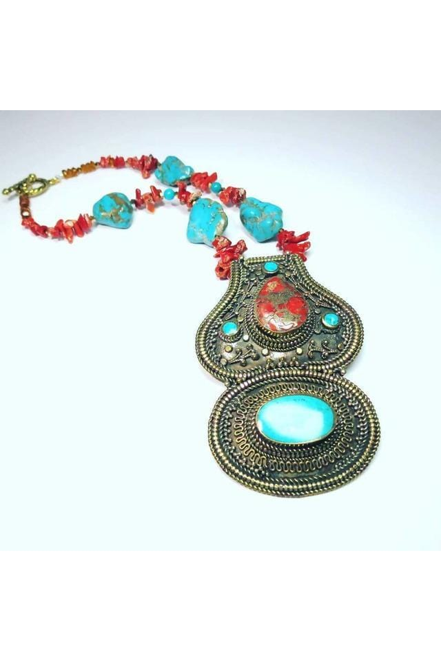 Tibetan Brass Pendant of Earthy Turquoise & Coral Inlay - Himelhoch's