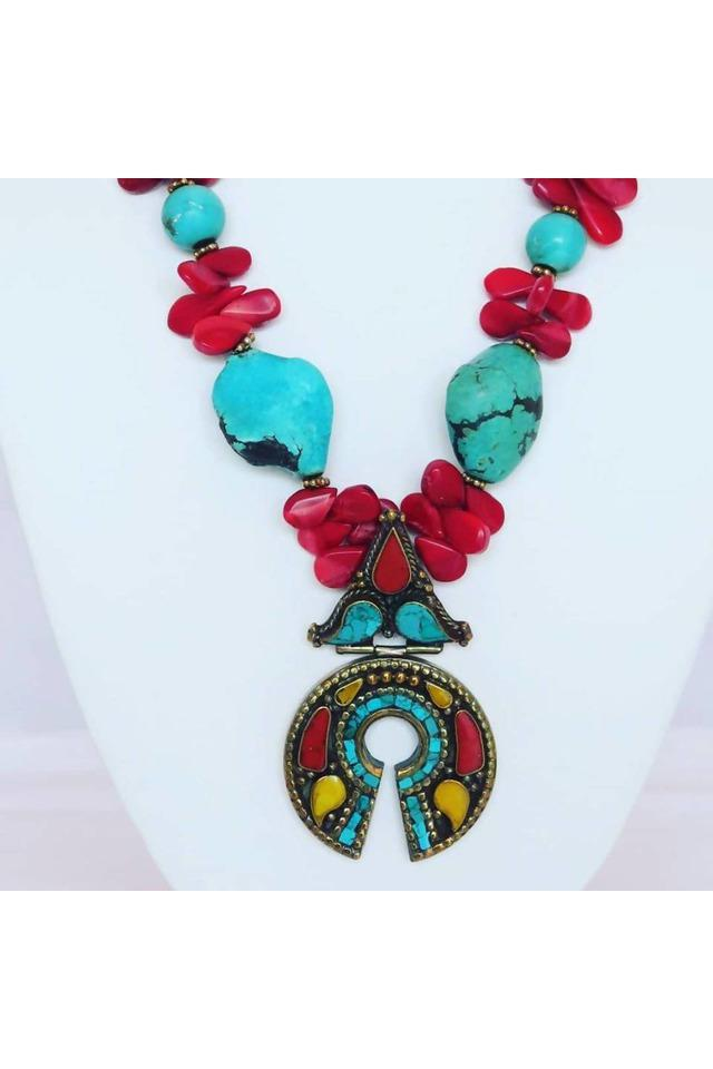 Turquoise,Red Coral, & Brass Tibetan Pendant