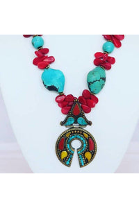 Turquoise,Red Coral, & Brass Tibetan Pendant - Himelhoch's