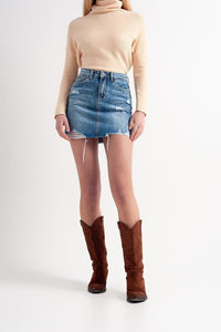 Q2 Distressed hem denim mini skirt