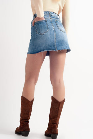 Distressed Hem Denim Mini Skirt - Himelhoch's