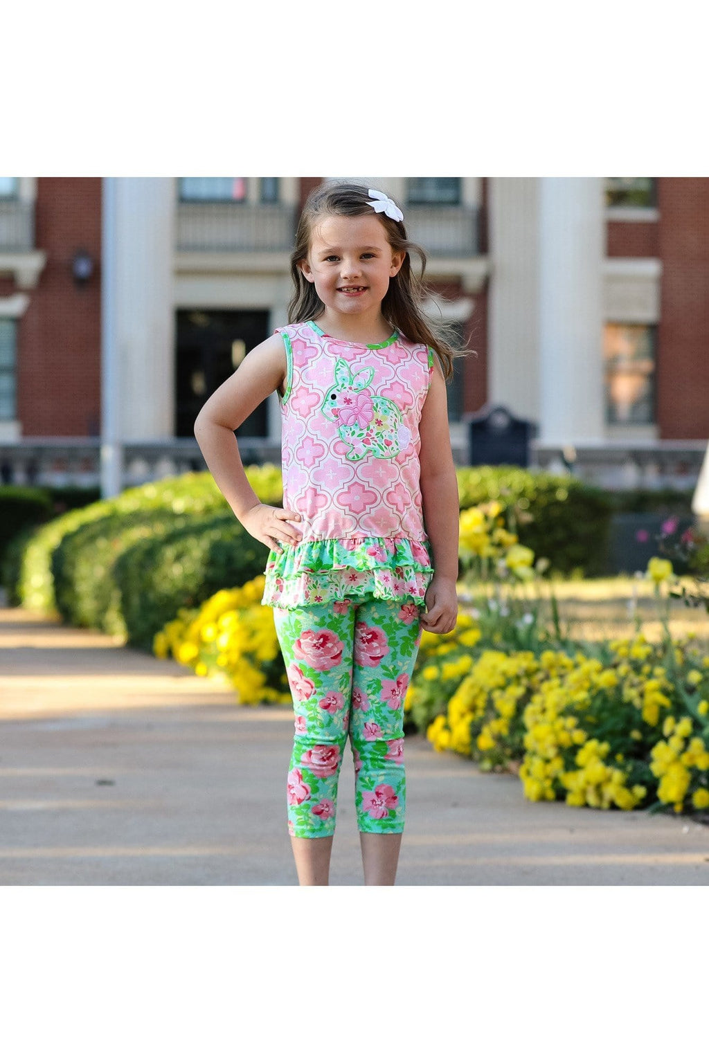 AnnLoren Little Toddler Big Girls' Easter Bunny Floral Tunic Leggings Boutique Clothing Set Sizes 2/3T - 9/10 - Himelhoch's
