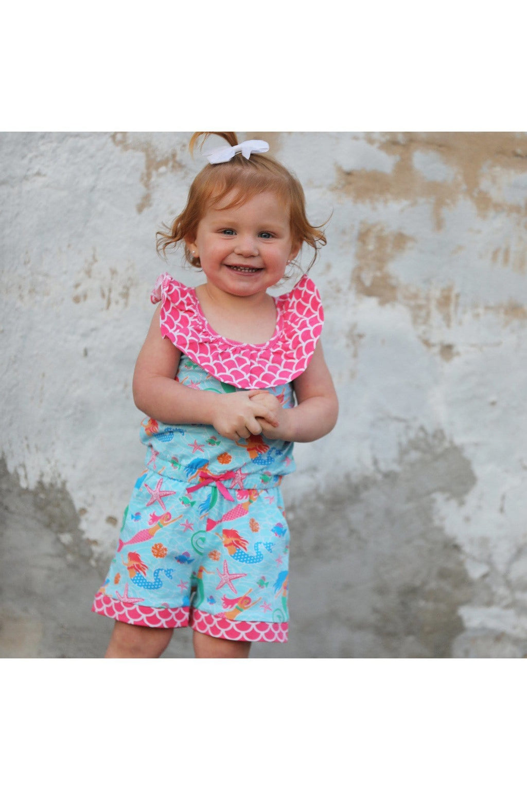 AnnLoren Little Big Girls Nautical Jumpsuit Mermaid Romper Spring Summer Boutique Clothing Sizes 2/3T - 11/12 - Himelhoch's