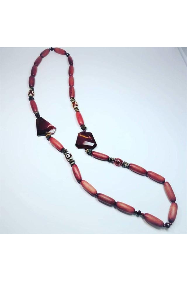 Australian Mookaite Jasper & Etched Carnelian Beads With Rosewood & Coconut Husk Necklace - Himelhoch's