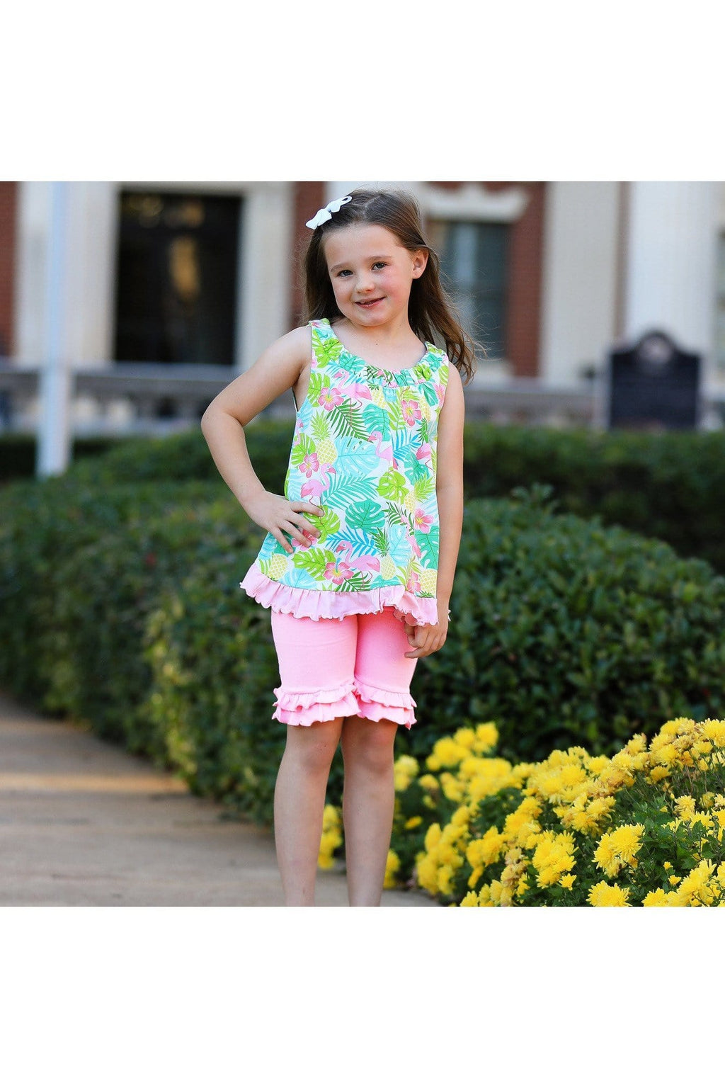 AnnLoren Baby/Toddler Girls Open Back Swing Tank Top with Bow Tropical Design - Himelhoch's