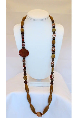 Woodstone, Red Agate and Agate Necklace