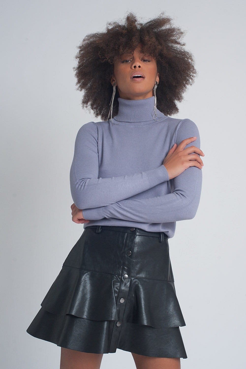 Essentials Roll Neck Jumper in Purple - Himelhoch's