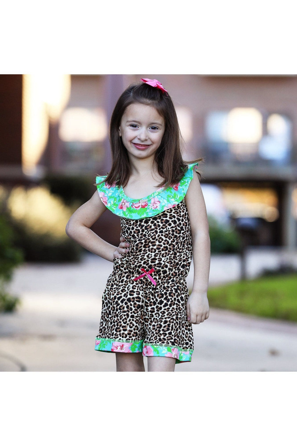 AnnLoren Little Big Girls Jumpsuit Leopard Floral Spring Summer One Pc Boutique Clothing Sizes 2/3T - 11/12 - Himelhoch's