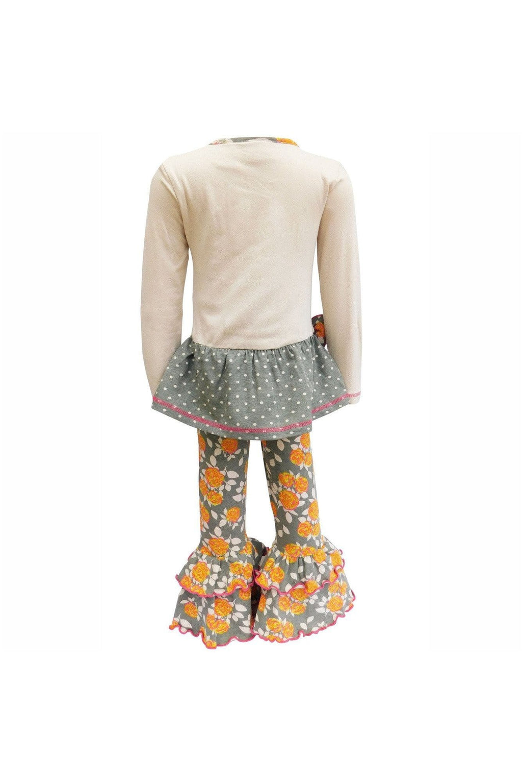 AnnLoren Girls Boutique Fall Floral Polka Dots Dress & Ruffle Pant Clothing Set - Himelhoch's
