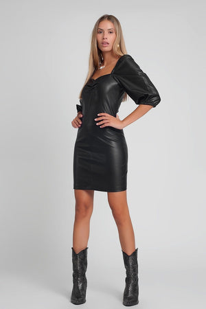 Q2 Faux leather mini dress with puff sleeves in black
