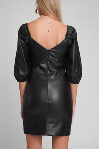 Faux Leather Mini Dress with Puff Sleeves in Black