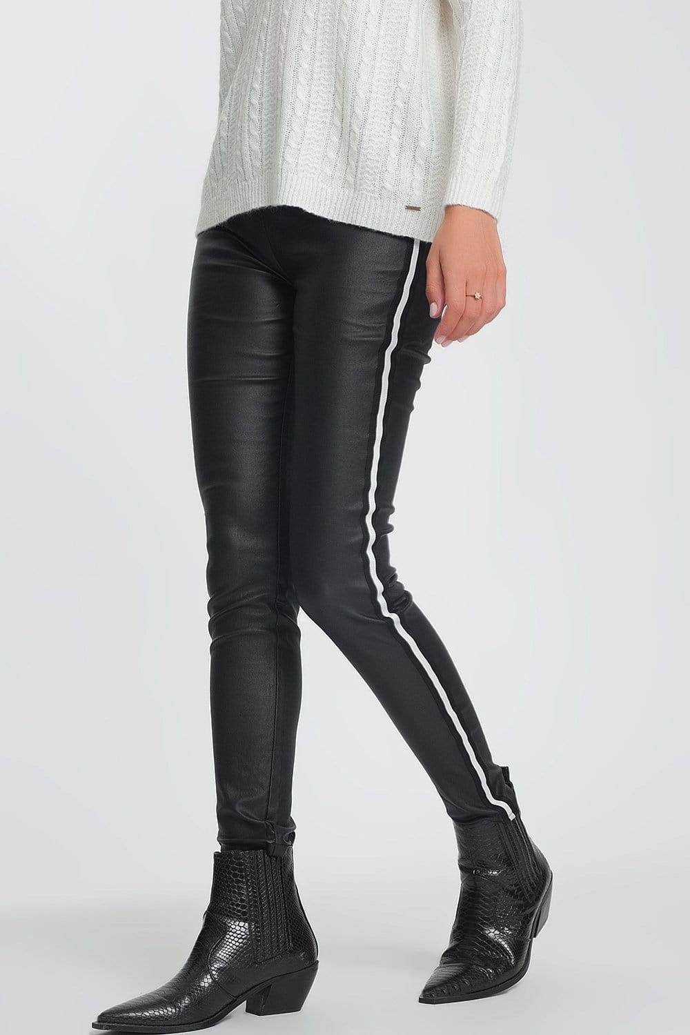 Faux Leather Side Stripe Legging in Black - Himelhoch's