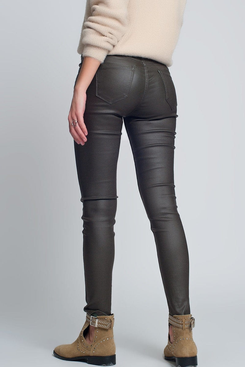 Faux Leather Skinny Pants in Khaki Colour - Himelhoch's