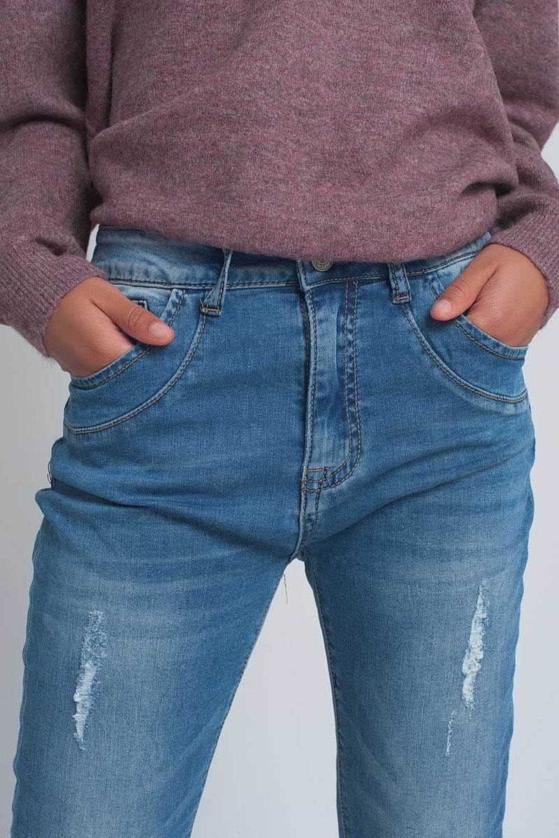 Fine Denim Ripped Boyfriend Jean in Mid Wash - Himelhoch's