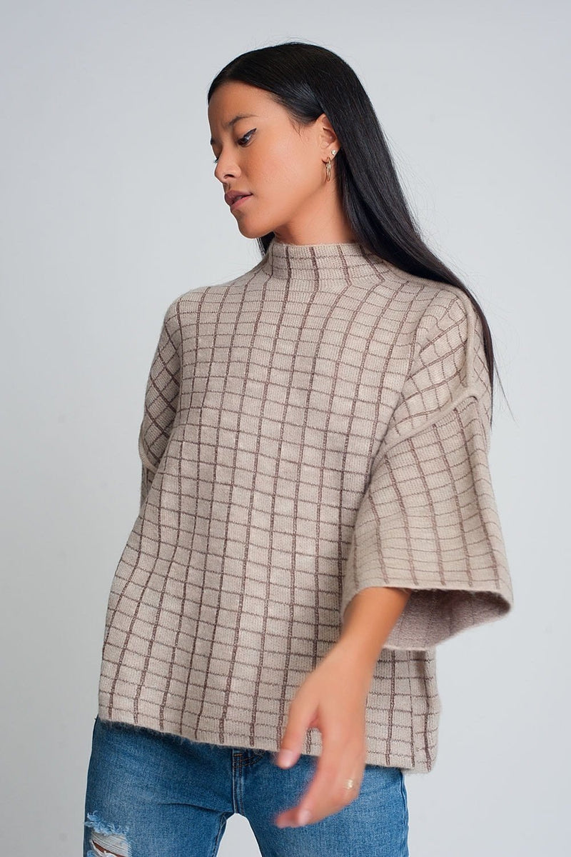 Fine Knit Sweater with High Neck in Beige Check Pattern - Himelhoch's
