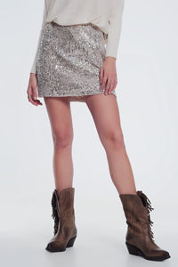 Q2 gold paillette sequin skirt