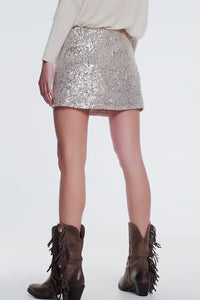 Gold paillette sequin skirt