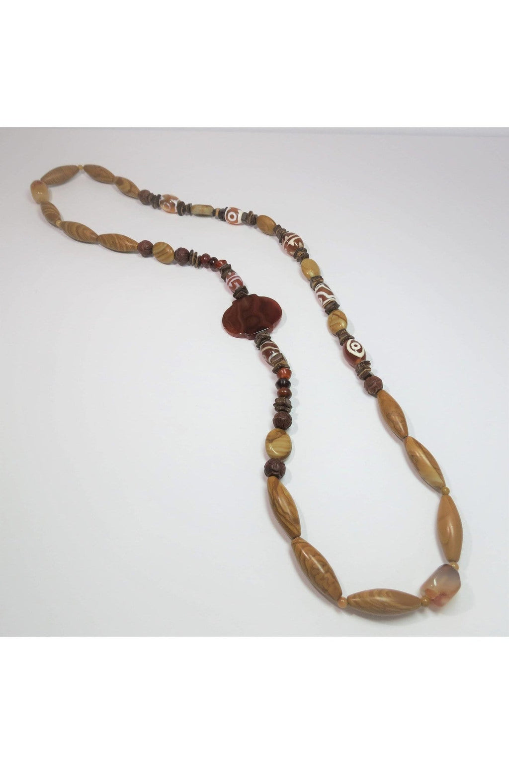 Woodstone, Red Agate and Agate Necklace - Himelhoch's