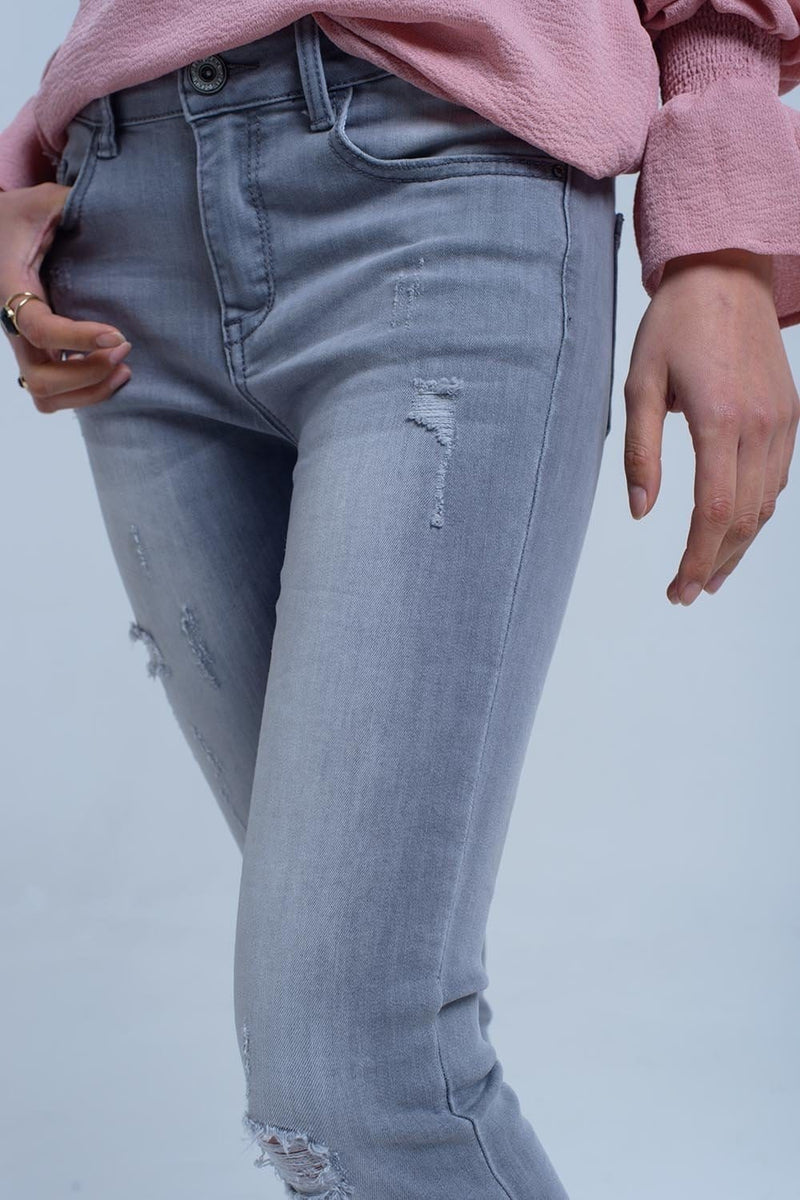 Gray jeans with rips detail - Himelhoch's
