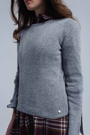 Gray shiny sweater - Himelhoch's