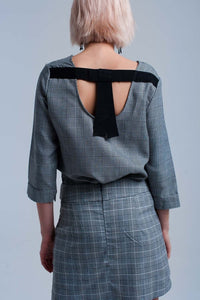 Gray tartan pattern top with ribbons - Himelhoch's