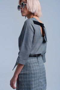Q2 Gray tartan pattern top with ribbons