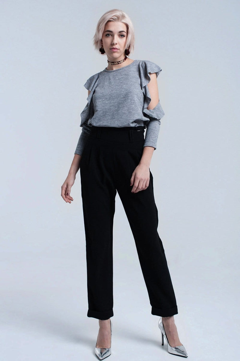 Gray top with ruffle and open detail