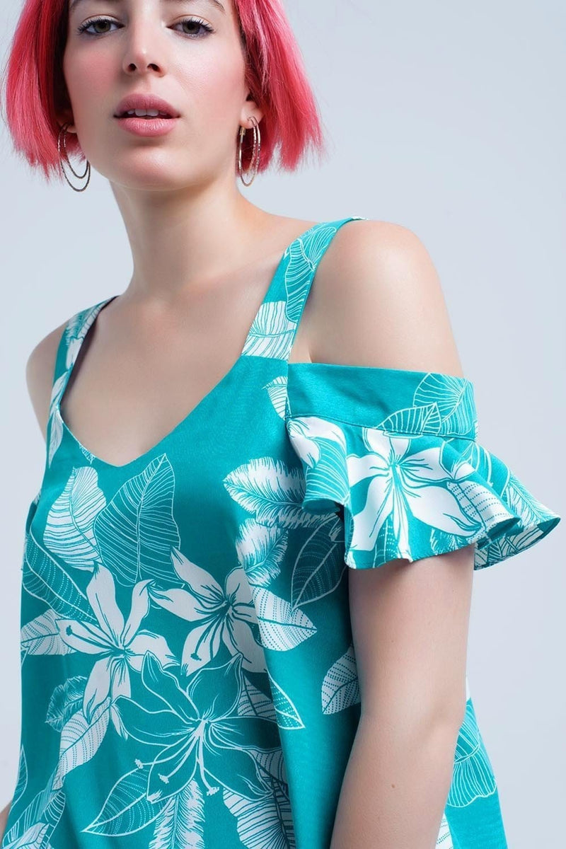 Green flower top and ruffles detail - Himelhoch's