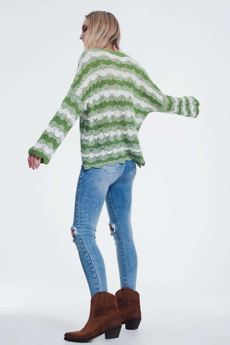 Green striped sweater with open knit detail - Himelhoch's