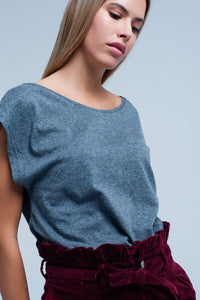 Grey T-shirt with scoop neck - Himelhoch's