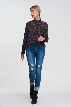 High Neck Top with Volume Long Sleeve in Black Geo Print - Himelhoch's