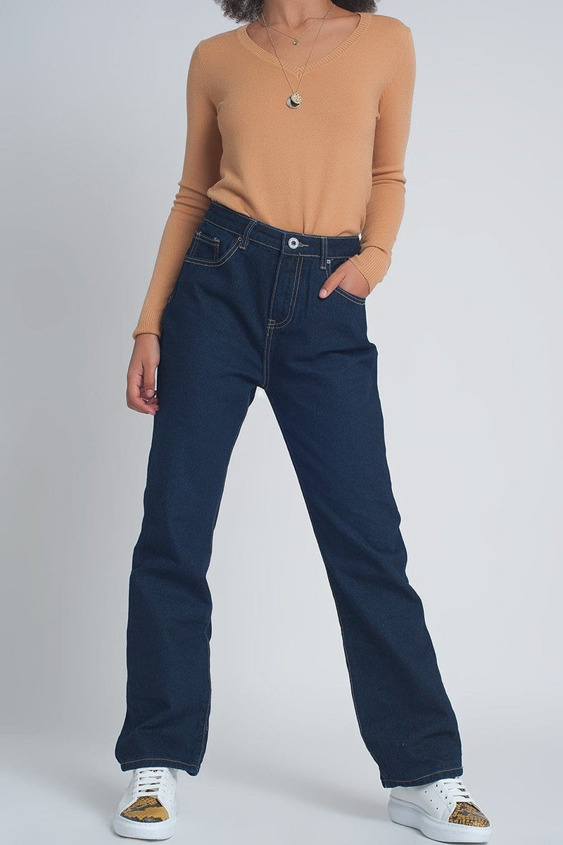 High Rise Straight Cut Jeans in Dark Blue - Himelhoch's