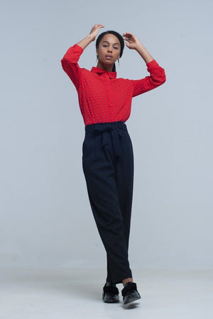 High Waist Black Pants with Belt - Himelhoch's