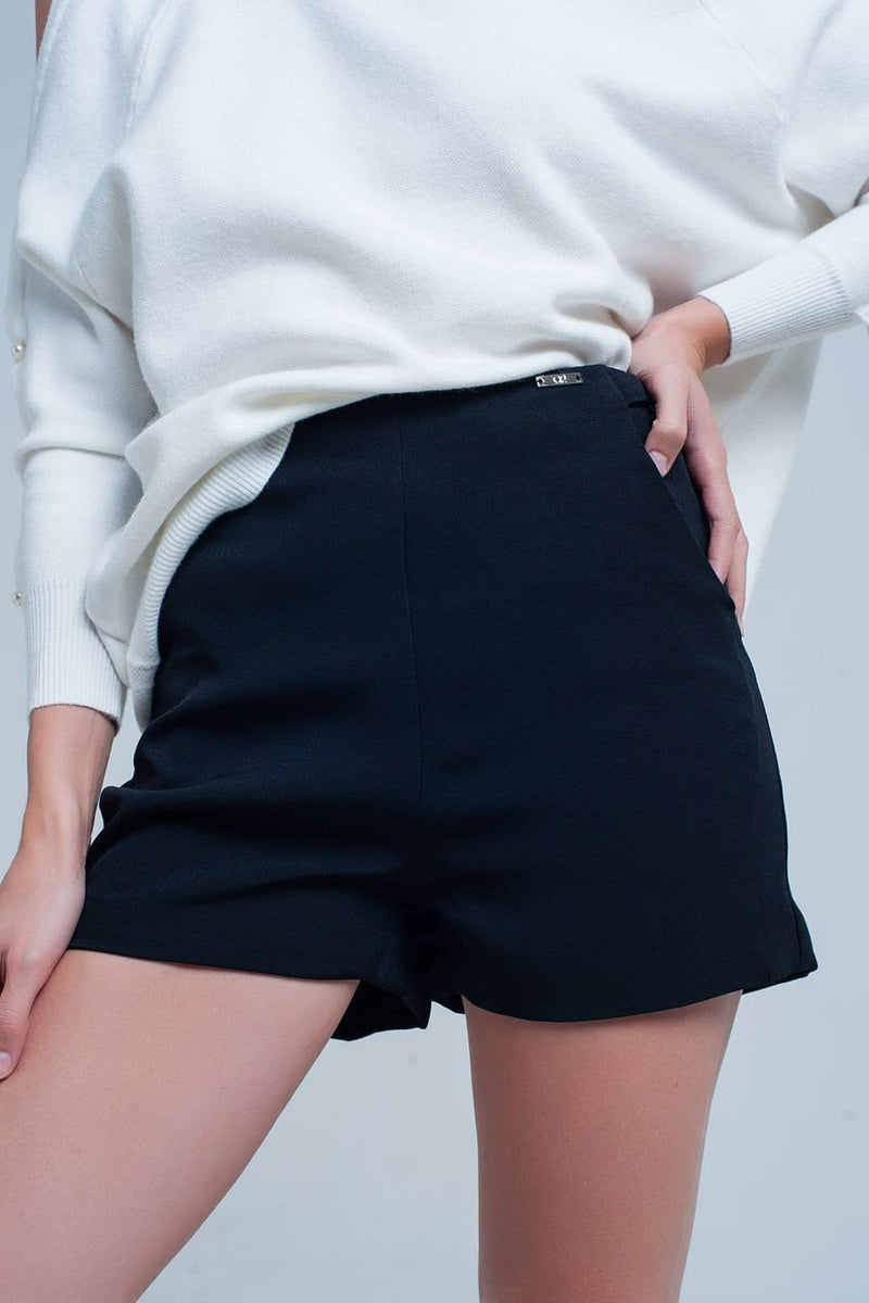 High Waist Black Shorts - Himelhoch's