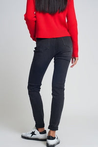 High Waisted Skinny Jeans in Black - Himelhoch's
