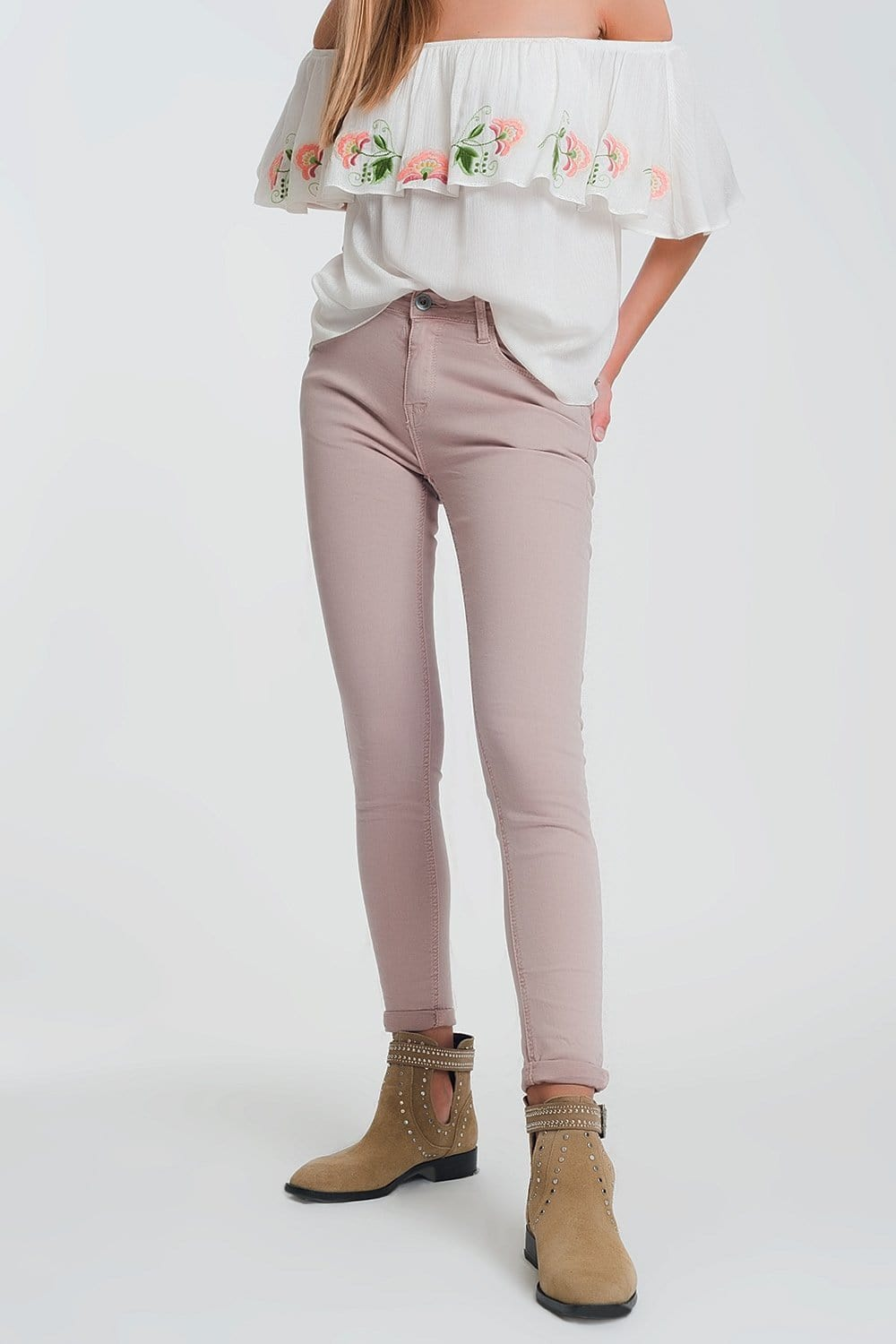 Q2 High waisted super skinny pants in pink