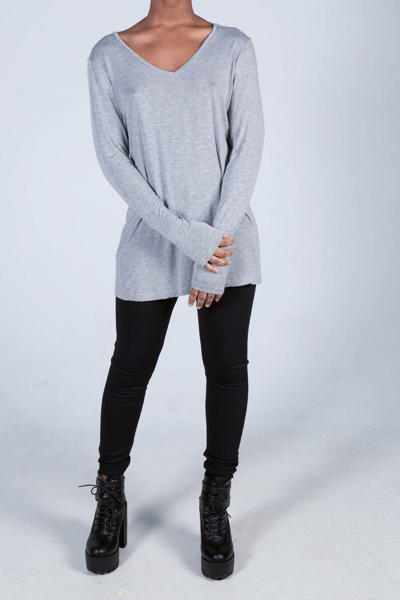 The Grace Long Sleeve Relaxed V-Neck - Himelhoch's