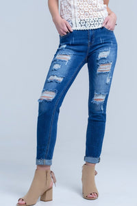 Jean with shredded rips and raw-cut cuffs - Himelhoch's