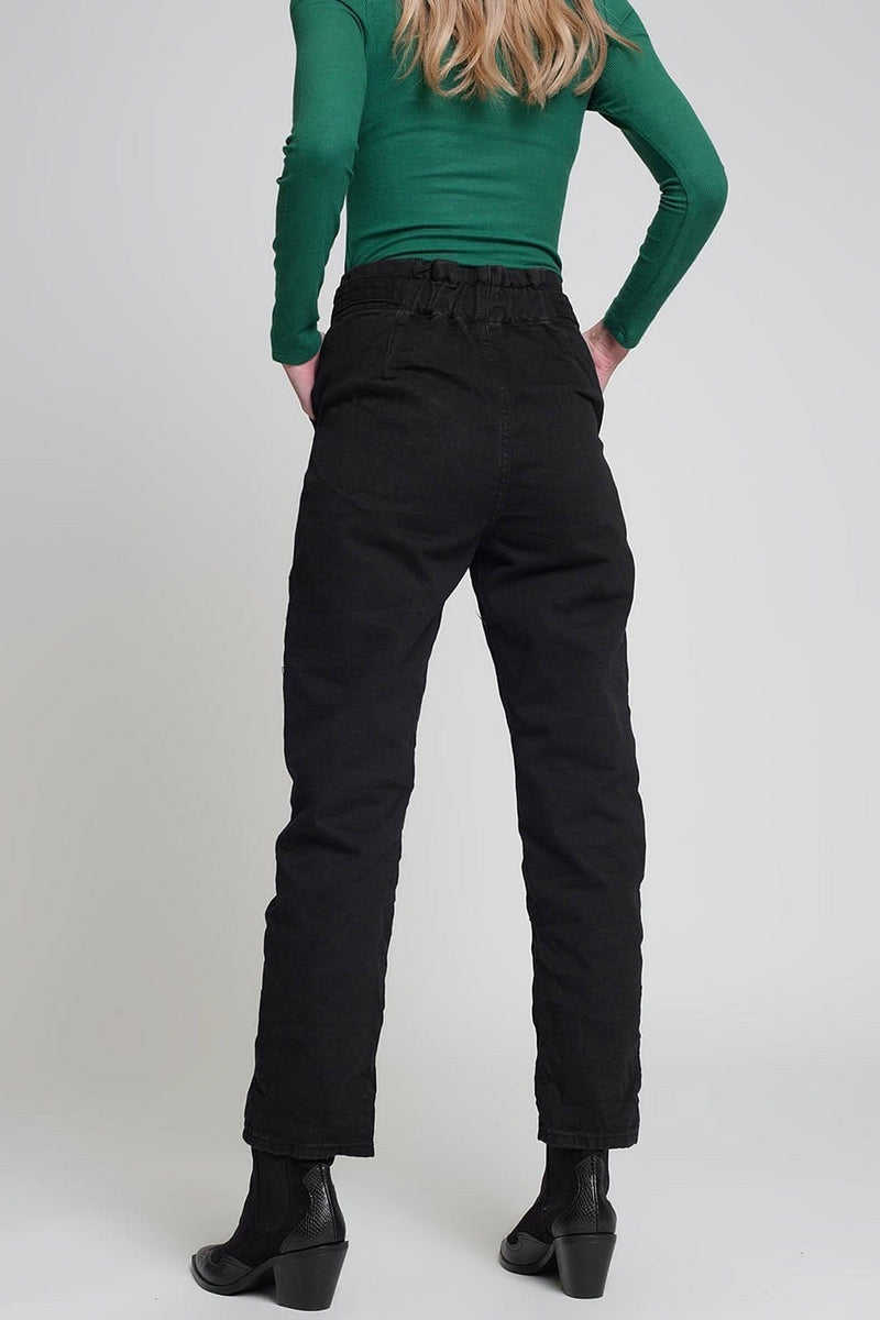 Jeans with Paper Bag Waist and Button Details in Black - Himelhoch's