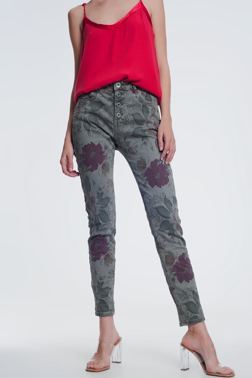 Khaki boyfriend jeans with floral print - Himelhoch's