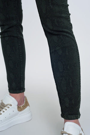 Khaki Super Skinny Reversible Pants with Snake Print - Himelhoch's