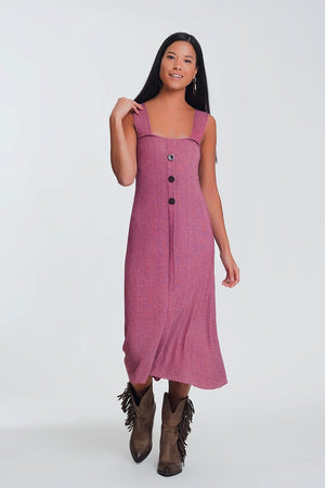 Q2 Knitted dress with buttons in pink